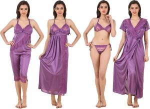f1881f9069 Clovia Women s Nighty with Robe Top and Capri Purple Best Price in ...