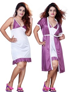 c009d187768 Mahaarani Women s Nighty with Robe Purple Best Price in India ...