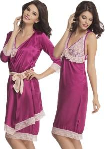 Clovia Women s Nighty with Robe Purple Best Price in India  6ba71f232