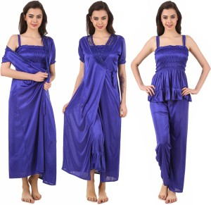 f59dc90d35 Masha Women s Nighty with Robe Top and Capri Blue Best Price in ...