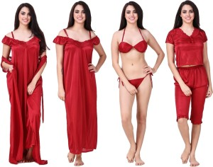 Keoti Women s Nighty with Robe Maroon Best Price in India  45038b739