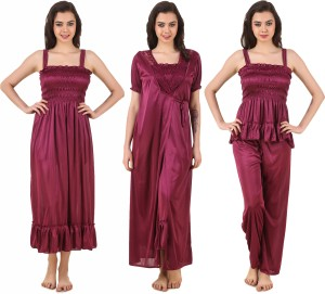 5d88dc7f08 Masha Women s Nighty with Robe Top and Capri Maroon Best Price in ...