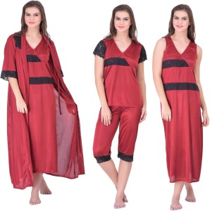 5715e65aec Claura Women s Nighty with Robe Top and Capri Maroon Best Price in ...