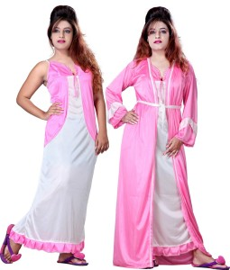 ac38d150542 Mahaarani Women s Nighty with Robe Pink Best Price in India ...