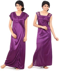 b35661e78f Fashigo Women s Nighty with Robe Purple Best Price in India ...