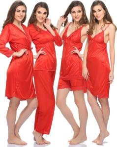 b613cea195 Clovia Women s Nighty with Robe Top and Capri Red Best Price in ...