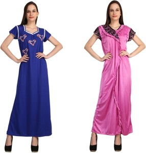 Crazeis Women s Nighty Blue Pink Best Price in India  ac66a1d64