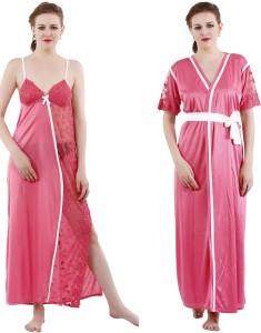 c9368ad4e60 Romaisa Women s Nighty with Robe Pink Best Price in India