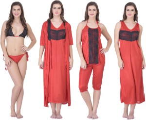 6e2c217554 Claura Women s Nighty with Robe Top and Capri Red Best Price in ...