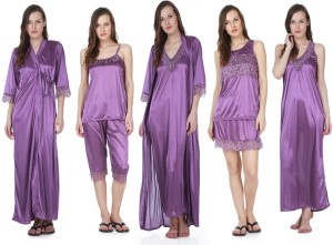 615320c1bc Claura Women s Nighty with Robe Top and Capri Purple Best Price in ...