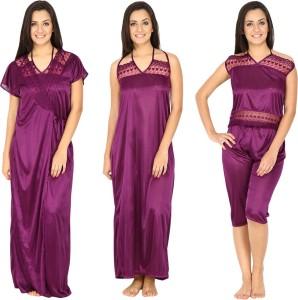 a01b0a5983 Secret Wish Women s Nighty with Robe Top and Capri Purple Best Price ...