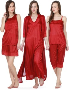 397def7ba8 Claura Women s Nighty with Robe Top and Capri Maroon Best Price in ...