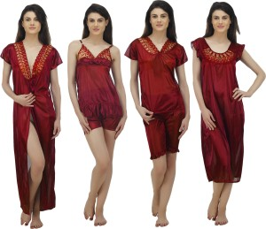 5fcebc5775 ARLOPA Women s Nighty with Robe Top and Capri Maroon Best Price in ...