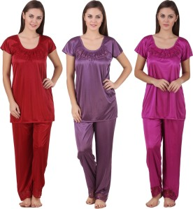 9c8e3fa8cf Ansh Fashion Wear Women s Solid Red Pink Purple Top Pyjama Set Best Price  in India