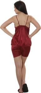 eb76be4e60 Clovia Set of 2 Pc Satin Nightwear Women s Solid Maroon Top   Shorts Set