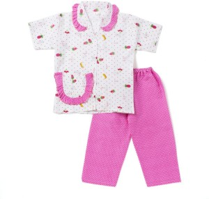 8e151fd906 BownBee Kids Nightwear Girls Printed Cotton Pink Pack of 2 Best ...