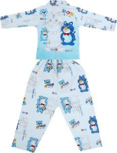 455a46fe16fb Natkhat Kids Nightwear Boys Animal Print Cotton Blue Pack of 2 Best ...
