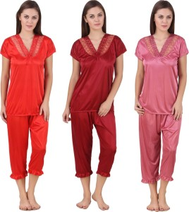 42353d6d34 Ansh Fashion Wear Women s Solid Red Pink Purple Top Pyjama Set Best ...