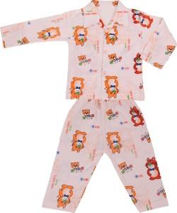 c8c248a1e208 Natkhat Kids Nightwear Boys Animal Print Cotton Orange Pack of 2 ...