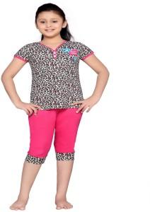 Punkster Kids Nightwear Girls Solid Cotton Pink Pack of 2 Best Price ... f53750828