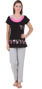 1ee8b04a64 Carlo Rossi Women s Solid Black Top Pyjama Set Best Price in India ...