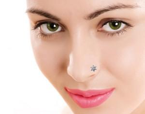 Suvam Jewels Swarovski Crystal 18k White Gold Plated Gold Nose