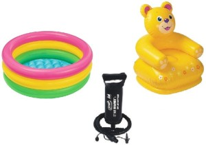 Flying Toyszer Baby Pool, Teddy Kiddie chair with Air PumpMulticolor