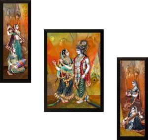 SAF Set of 3 Radhe Krishna Digital Reprint Painting
