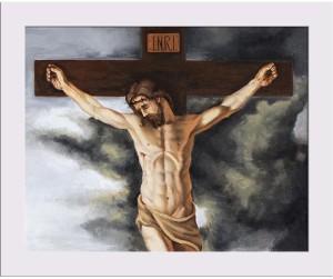 Artzfolio Jesus On The Cross Framed Art Print Digital Reprint Painting5 0  inch x 6 3 inch