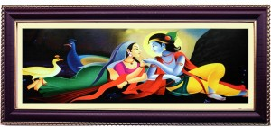 Shree Sai Spiritual Lord Radha Krishna Love Wall Painting Gift For Temple Glass Print Painting8 05 Inch X 0 6 Inch