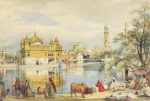 Ocher Art 28x19 INCHES, Golden Temple Canvas Painting19 inch x 28 inch