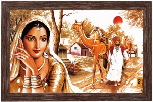 Art N Hub Rajasthani Village Textured With Acrylic Glass Ink Painting 13 Inch X 19
