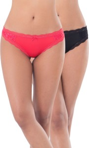 0a1f9aec53cc99 PrettySecrets Women s Thong Red Black Panty Pack of 2 Best Price in ...