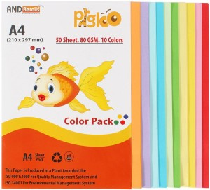 Pigloo Premium Range 50 Sheets. 10 Colour. 80GSM unruled A4 Coloured Paper