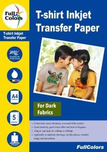 Full Color Full Colors 120gsm T-Shirt Inkjet Transfer Paper Dark Fabrics Dark Sheet A4 Transfer Paper
