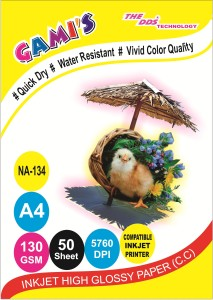 DDS DDS High Glossy Inkjet Photo Paper 130 Gsm A4/ 50 Sheets  PACK-20PKT-1000 SHEET CARTON Unruled A/4 Inkjet PaperSet of 20, White