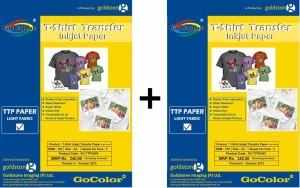 Gocolor Tshirt Transfer 120 Gsm Inkjet Photo Paper Light Fabrics X 2 Pack Combo Unruled A4 Photo Paper