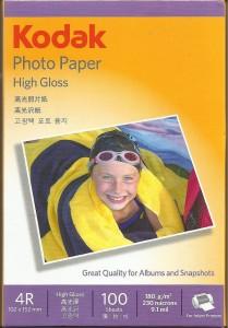 Kodak High Gloss 4 inch x 6 inch Plain 4R Photo Paper