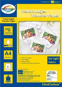 Gocolor T-shirt Transfer 120 GSM 5 Sheets Inkjet for Light Fabrics Unruled A4 Photo Paper