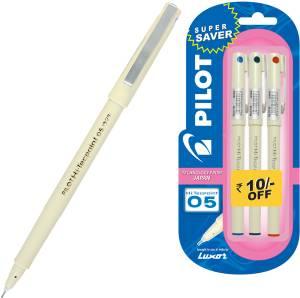 Pilot Hi-Techpoint 05 (1Blue + 1Black +1Red) Roller Ball Pen