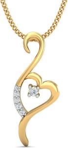 KuberBox Forever Heart Diamond Yellow Gold Pendant