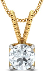 Samaira Gem and Jewelery Love Forever & Solitaire 14kt Swarovski Crystal Yellow Gold Pendant