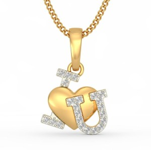 BlueStone Forever In Heart 14kt Diamond Yellow Gold Pendant
