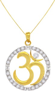 Spargz Spiritual Om Design Yellow Gold Cubic Zirconia Brass Pendant