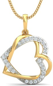 KuberBox Forever Love Diamond Yellow Gold Pendant
