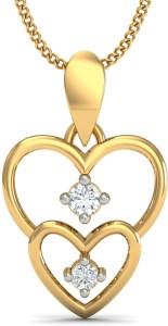 KuberBox First Love Diamond Yellow Gold Pendant
