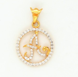 Bhurmal Aidanmal Jewellers Round Star A Letter 18kt Cubic Zirconia Yellow Gold Pendant Best Price In India