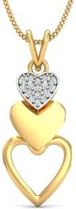 KuberBox Layered Heart Diamond Yellow Gold Pendant