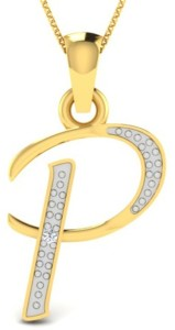 Kataria Jewellers Letter P 92.5 BIS Hallmarked Silver Alphabet Initial  Yellow Gold Plated Diamond Silver Pendant c2b34f6b2f3
