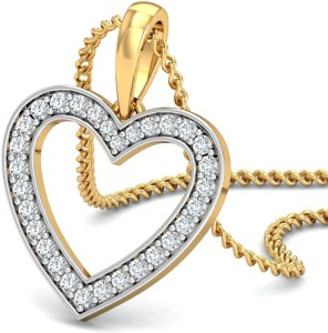 Samaira Gem and Jewelery Love Forever, Heart 14kt Swarovski Crystal Yellow Gold Pendant